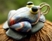 Frog on a Lily Pad Clay Pendant Animal Jewelry