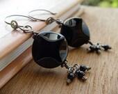 Noir black tourmaline fine silver earrings