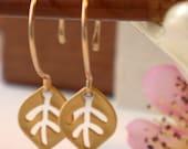 Valentine's Sale. Petite Gold Autumn Leaf Earrings