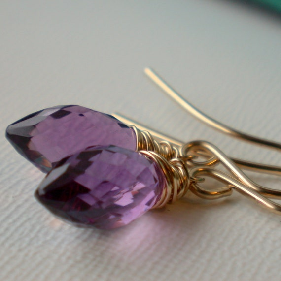 Sale. Wrapped Amethyst Earrings. Wire Wrapped Amethyst Earrings. Amethyst Dangle Earrings. Amethyst Dangle EArrings. February Birthstone.
