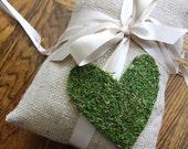 Burlap Ring Bearer Pillow with Moss Heart