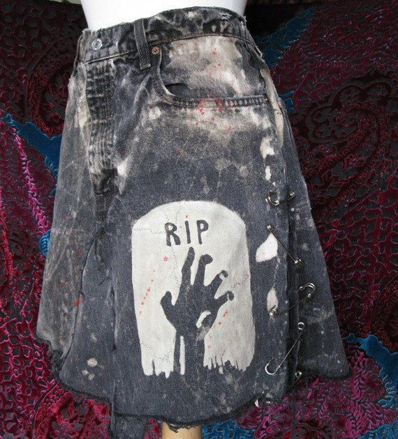 ZOMBIE HAND Jean Skirt Glow-in-the-dark
