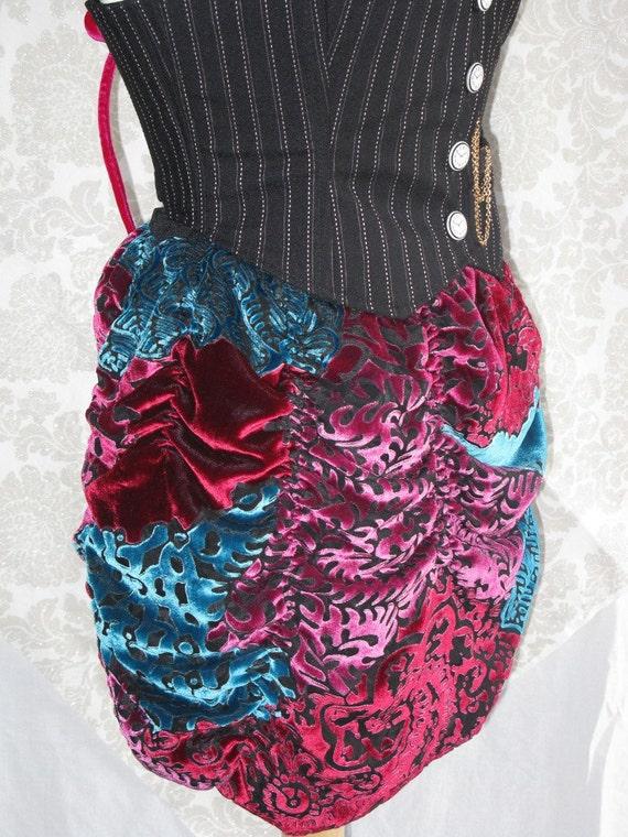Silk Velvet Burnout Shirred Burlesque Skirt