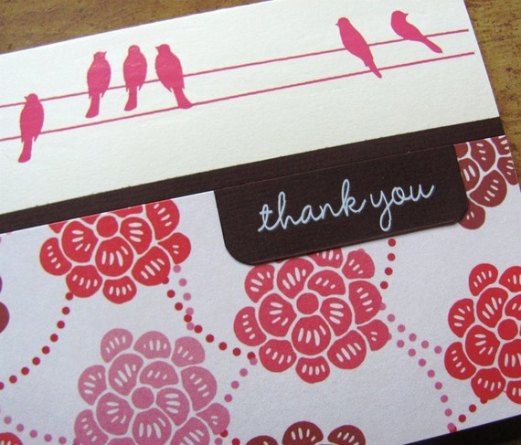 floral owl thank you card- orange and pink