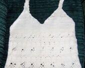 White Crocheted Womens Top