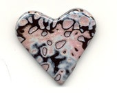 Pink and Black Speckled Heart Pin