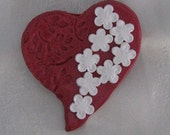Red Heart Brooch with White Flowers