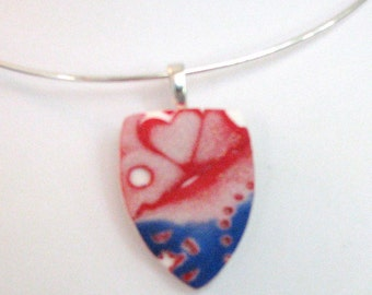 Red, White and Blue Necklace in the Shape of a Shield