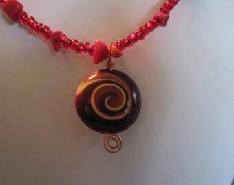 Swirlie Brown and Red Pendant with Red Beads