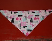 Small Pretty in pink kitty meow print cat themed dog or cat bandanna