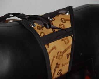 Steampunk golden keys print medium dog corset, waist cincher