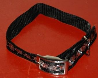 Black with silver spiderweb Medium dog collar 5 grommet, silver buckle