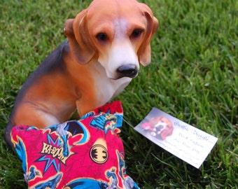 Crashhh, Ka-Boom, Thack,  Holy dog toy Batman. Batman (in red) themed squeaker square dog toy.