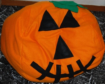 Orange  pumpkin  shaped large dog bed, Halloween,  featured in City Dog Magazine