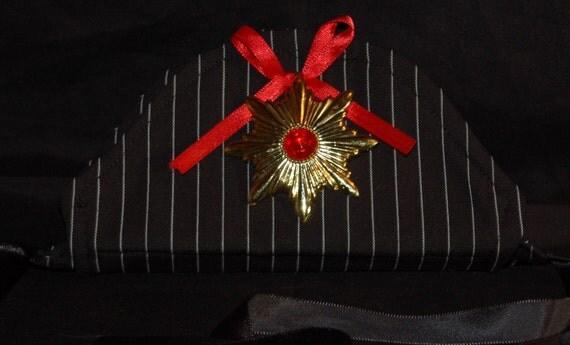 Dogula vampire pinstripe gothic pirate dog hat