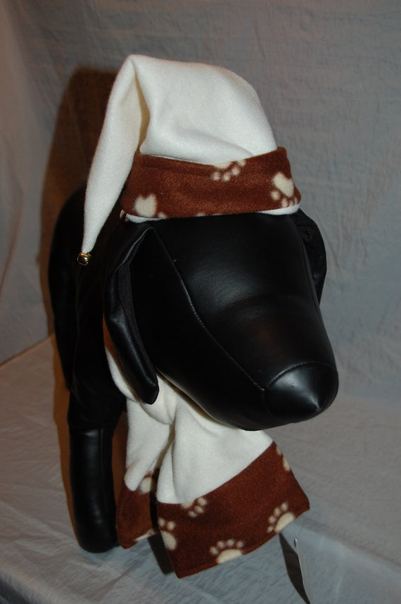 Steampunk Cream fleece with brown and cream paw print  trim Christmas winter Santa hat and matching arf scarf set for your dog
