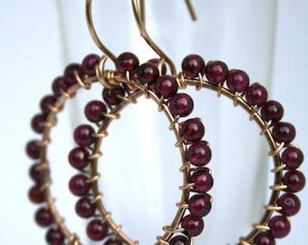Garnet Gemstone and 14K Gold Filled Wire Hoop Earrings
