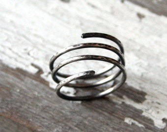 Sterling Spiral Wrap Ring- Oxidized Silver
