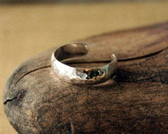 Sterling Silver Toe Ring- Dimpled Half Round