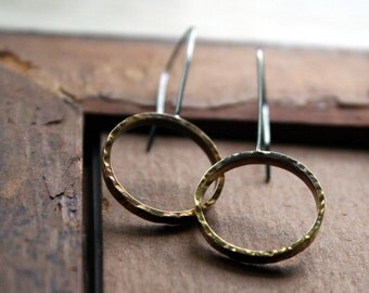 Hammered Brass & Sterling Hoop Earrings -Oxidized