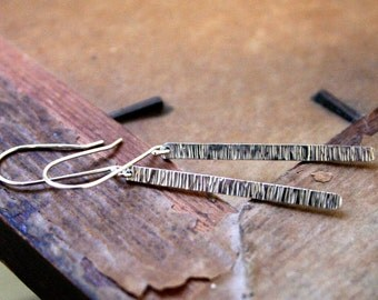 Striated Long Sterling Silver Stick Earrings