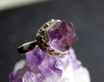 Rustic Amethyst Crystal Sterling Silver Ring