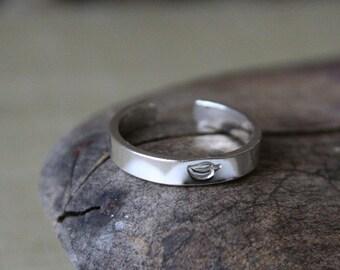 Leaf Toe Ring Sterling Silver- 3mm