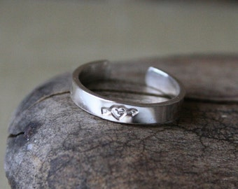 Arrow Through My Heart Toe Ring Sterling Silver- 3mm
