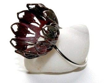 Vintage Brass and Sterling Silver Pod Ring- Romantica