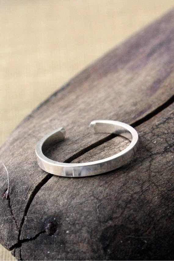 Sterling Silver Toe Ring- Skinny 2mm Polished Flat