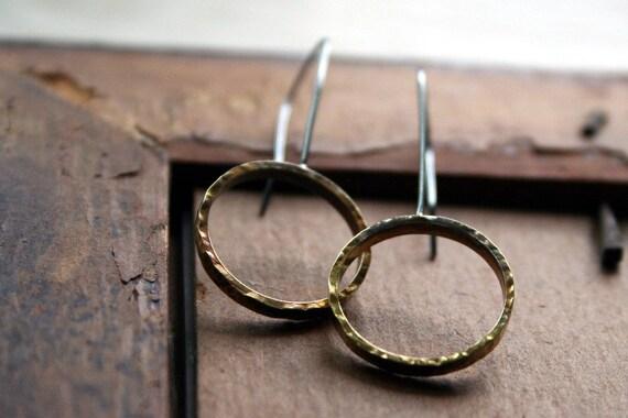 Hammered Brass & Sterling Hoop Earrings -Oxidized