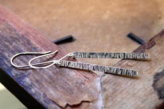Striated Long Sterling Silver Stick Earrings