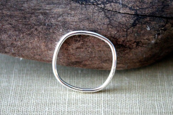 Plain Square Sterling Silver Stacking Ring