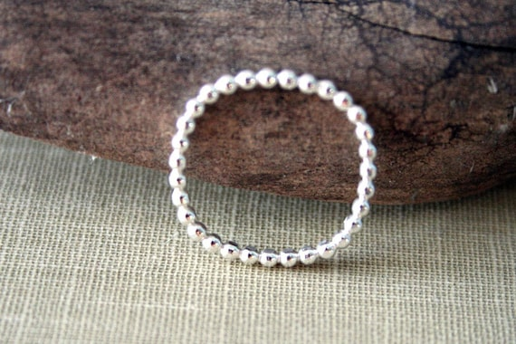 Beaded Square Sterling Silver Stacking Ring