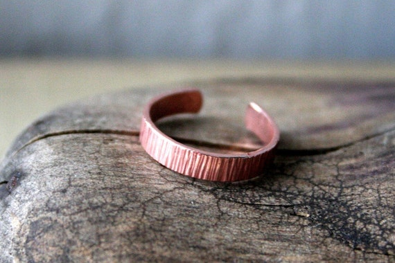 Copper Toe Ring- Striated- 3mm