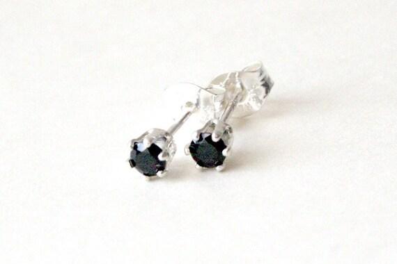 3mm Black Spinel Sterling Silver Stud Posts