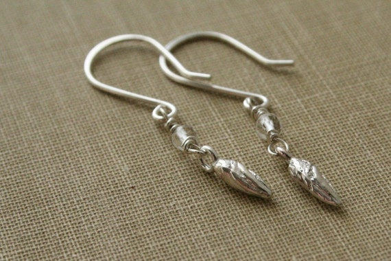 Leaf Bud Quartz Sterling Silver Earrings