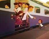 "India Art, Indian Artwork, Indian Wall Hanging, Train Art - ""Ek Chai"""