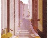 "San Francisco Art, Scooter Art, California, Wall Decor - ""Sidecar"" - Art Print 13x19"
