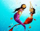 """Mermaid Art, Ocean Painting, Ocean Art, Mermaid Painting - """"Water Dance"""""""