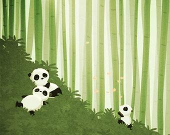"Panda Art Print, Kids Art, Panda Wall Art, Nursery Wall Decor - ""Pandas"""