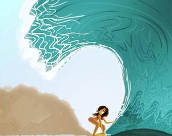 "Surfing Art, Hawaiian Art, Hawaii Print, Ocean Art, Surfer Girl - ""Rolling in the Deep"""