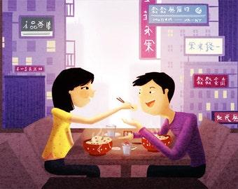"Romantic Couple, Couples Gift, Gift for Couple, Noodle Bowl, Love Wall Art - ""The Last Dumpling"""