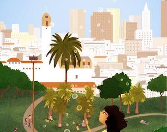 """San Francisco Art, Dolores Park Print, Wall Decor, Cityscape - """"Simple Pleasures"""""""