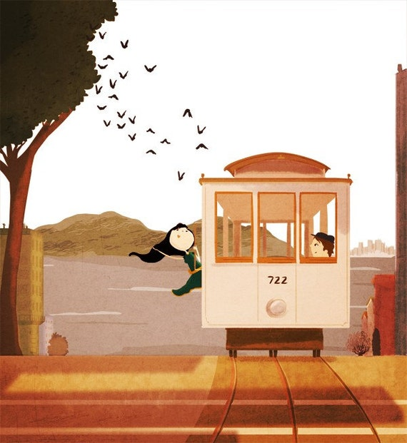 "Cable Car Art, San Francisco Art, Art Print, Home Decor  - ""Cable Car"""
