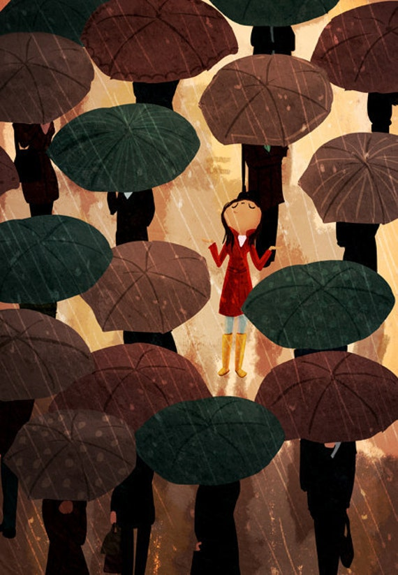 "Umbrella Print, Rainy Painting, Rain Art - ""City in the rain"""