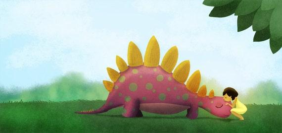 "Art for girls room, Stegosaurus, Kids Wall Art, Dinosaur Art, Art Print- ""Can I keep him"" - 13x19"