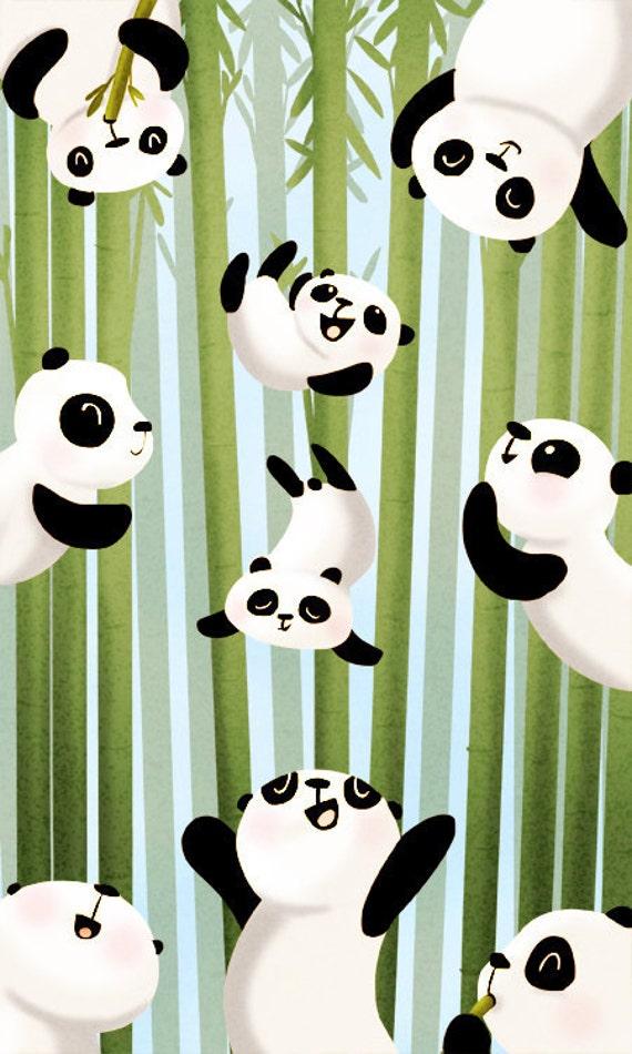 """Panda Painting, Nursery wall art, Kids Art, Panda Wall Decor, Panda, Cute Pandas Art Print - """"Pandamonium"""""""