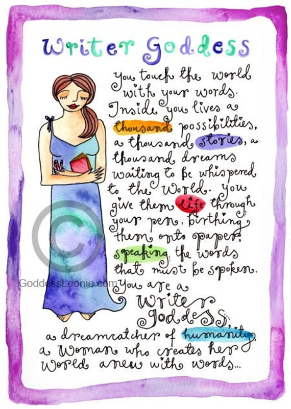 Writer Goddess - Inspiring 8 x 11 inch art poster by Leonie Allan