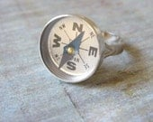 Quirky Ring, Compass ring, Teen girl Ring, Gift for Graduate, Gift for Traveler, Movable Compass Jewelry, Quirky Ring, Silver Compass